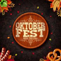 Oktoberfest illustration with typography on beer barrel