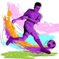 Konzept des Sportlers Fußball spielend