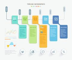 Business infographic elements template with 5 steps
