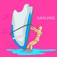 Concept of Sailing sports with wooden human mannequin