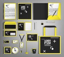 Design för företags identitet med en svart och gul färg.