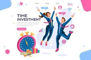 Investissement, concept d'horloge avec deux hommes d'affaires sautant