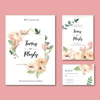 Vintage Geometric Floral Wedding Invitation Set