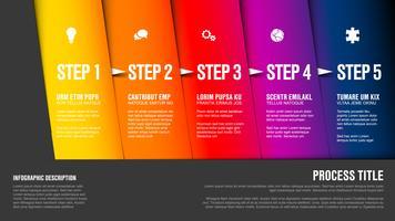 Vecteur progrès cinq étapes et icônes sur des blocs en diagonale