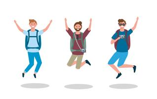 Conjunto de hombres turistas saltando con mochilas