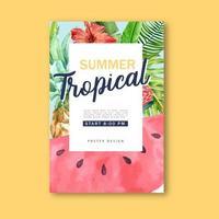 Cartel de acuarela tropical de verano