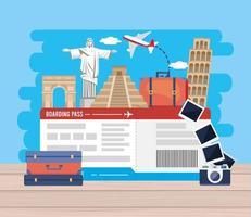 Bilhetes de avião com pontos de referência com câmera