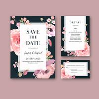 Floral Wedding Invitation Pink on Black Card Set
