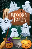 Halloween ghosts and pumpkins. Party invitation