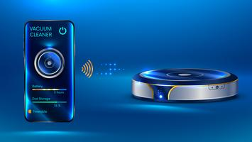 smart dammsugare iot som kommunicerar trådlöst med smarttelefonen