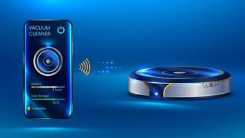 aspirapolvere intelligente che comunica senza fili con lo smartphone