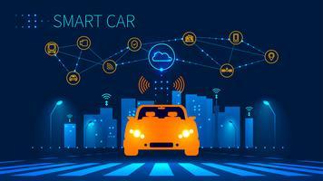 Connexion réseau sans fil de voiture intelligente avec ville intelligente