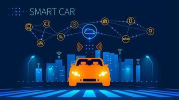 Conexão de rede sem fio de carro inteligente com cidade inteligente