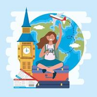 Tourist woman with big ben and globe