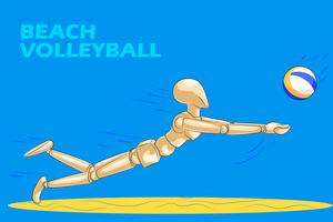 Concept of Beach Volleyball with wooden human mannequin