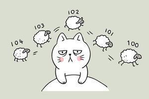 Cartoon schattige kat schapen tellen