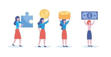 Set of businesswomen with money and puzzle pieces