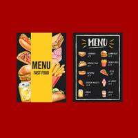 Menu fast food in stile lavagna moderna
