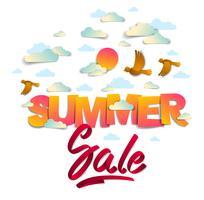 Zomer verkoop banner met vogels zon en wolken in de lucht, papercut en lint woorden