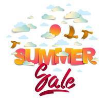 Banner de venda verão com pássaros sol e nuvens no céu, palavras papercut e fita