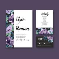 Invitation de mariage floral violet et collection de cartes RSVP