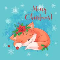 Sleeping Fox Christmas Card vector