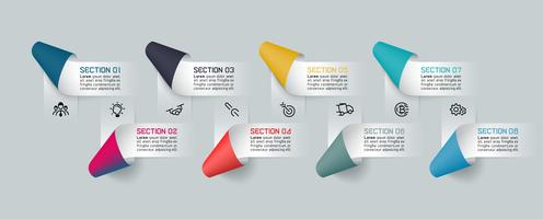 Infographics with paper ribbon labels and 8 processes