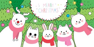 animals and Christmas tree  vector