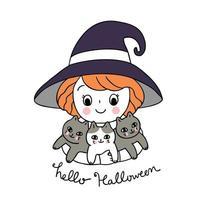 Halloween, strega ragazza e gatti neri