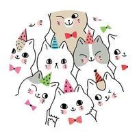Navidad, fiesta de gatos con sombrero