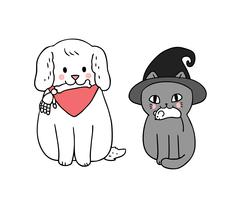 Halloween, cat and dog  vector