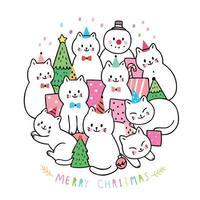 Navidad, gatos y regalos y árbol de navidad