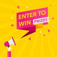 Enter To Win Prizes Pointer vector
