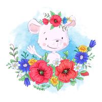 Cartoon cute little mouse in a wreath of red poppies and cornflowers, wildflowers
