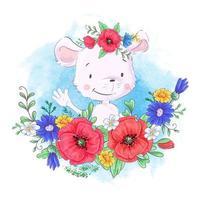 Söt liten mus för tecknad film i en krans av röda vallmo och blåklint, vildblommor