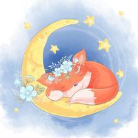 Raposa bonita dos desenhos animados com flores brancas, dormindo na lua
