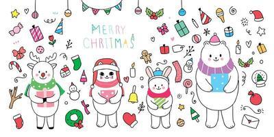 animales y elemento navidad
