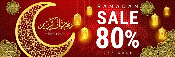 Diseño de banner de venta de Ramadán Kareem