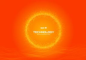 Abstract yellow glowing circle on orange background vector