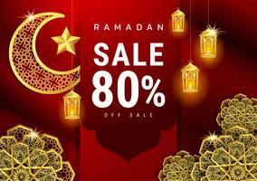 Bannière de vente de calligraphie arabe Ramadan Kareem vecteur
