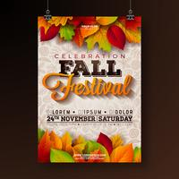 Autumn Party Flyer Illustration with falling leaves and typography design on doodle pattern background