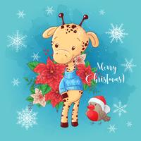 Christmas card with cartoon giraffe boy and a bouquet of poinsettia