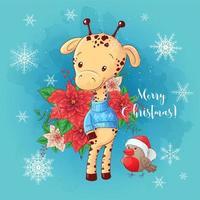 Cartão de Natal com menino girafa dos desenhos animados e um buquê de poinsétia