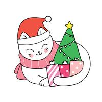 Christmas cat Santa Claus and gifts