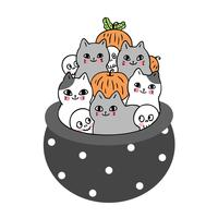 Halloween, Cat and skeleton and pumpkin in poison pot  vector