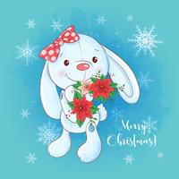 Christmas card with cartoon bunny and a bouquet of poinsettia