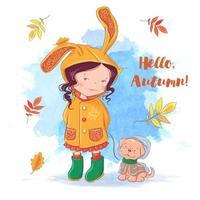 Cartão de outono com uma menina e um cachorro, folhas de outono