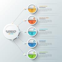 Infographic designmall med 5 runda steg med symboler och bokstäver inuti
