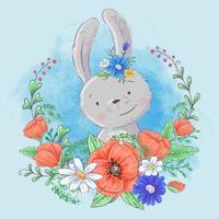 Söt tecknad kanin i en krans av vallmo och prästkragar, vildblommor