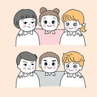Desenhos animados bonitos volta para escola meninos e meninas com os braços um do outro